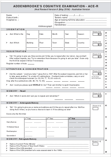 addenbrooke u0026 39 s cognitive examination tool  downloadable file