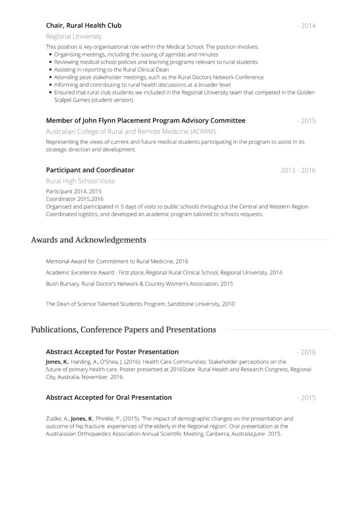Medical Student CV Example
