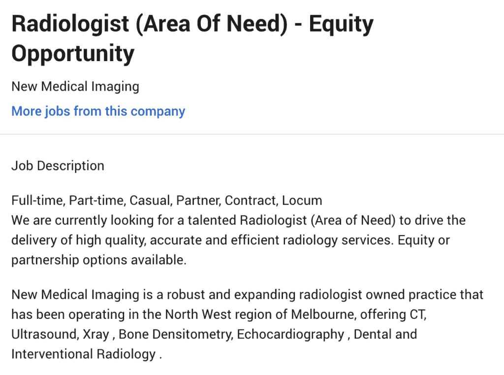 Area of Need Radiologist Victoria