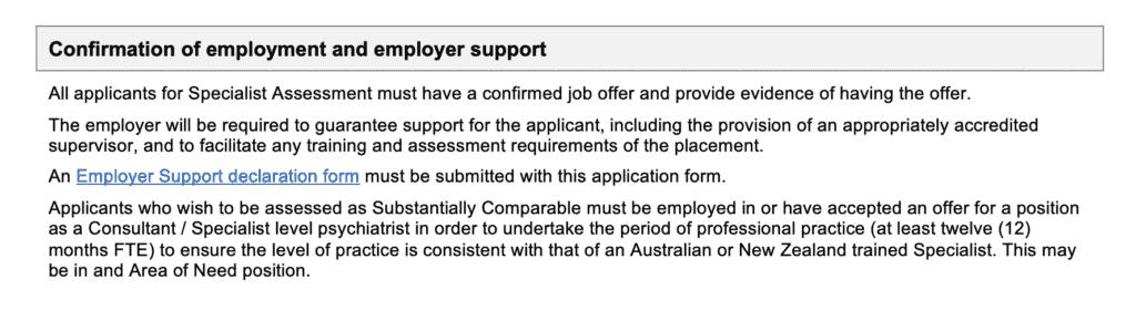 RANZCP assessment requires a job offer